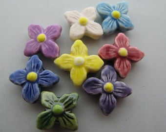 20 Ceramic Beads -  Tiny Mixed Star Flower Beads - CB409
