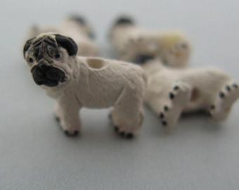 20 Tiny Pug Dog Beads
