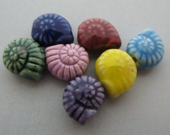 10 Tiny Shell Beads - multicolored