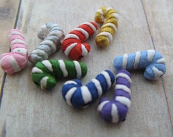 10 Tiny Candy Cane Beads - mixed