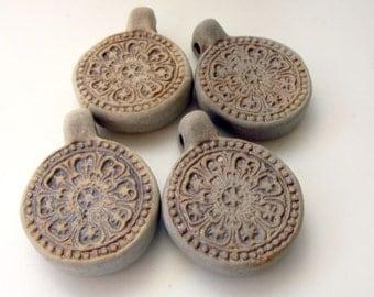 4 Highfired Cinnabar Flower Pendants/Beads