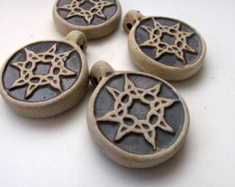 10 Ceramic Beads High fired Sun Burst Pendants - HIFI165