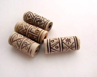 10 High fired Ceramic Beads - Long With Markings - HIFI 103