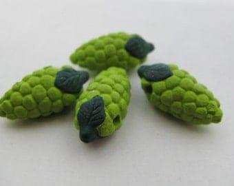 4 Large Green Grape Beads - LG555