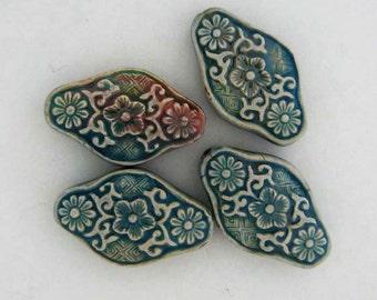 10 Raku Flower Diamond Beads