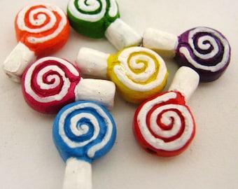 10 Tiny Lolly Pop Beads - CB813