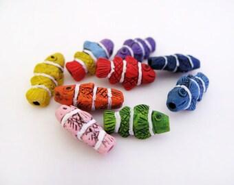 10 Tiny Clownfish Beads - mixed - ceramic bead, hand painted, peruvian, animal beads - CB009M