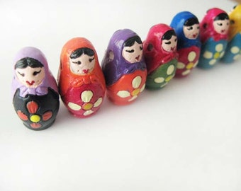 10 Large Russian Nesting Doll Beads