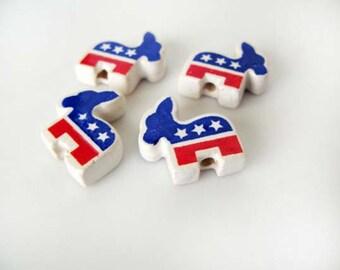 4 Democrat Donkey Beads