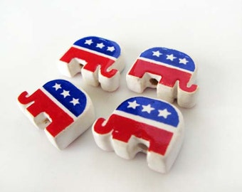 10 Republican Elephant Beads - DLG307