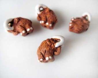 20 Tiny Mammoth Beads