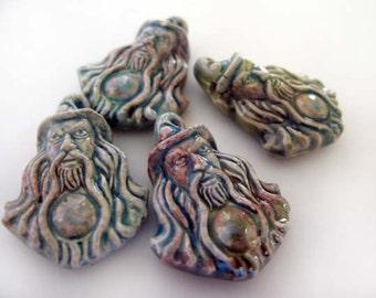 4 Raku Wizard Pendants - Beads - RAK271