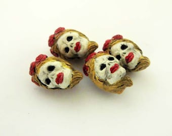 20 Tiny Frida Skull Beads - blonde - Peruvian, Ceramic, Frida Kahlo, Face, Skeleton, Day of the Dead, Holiday, Halloween  - CB850