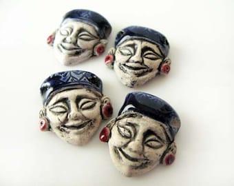 4 Large Incan Mask Beads - blue - LG627