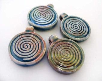 4 Raku Spiral Pendants - RAK287