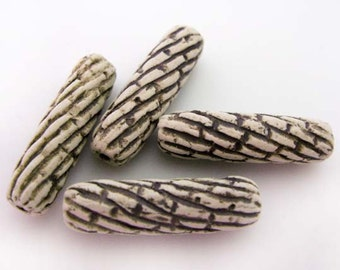 4 High Fired Beads with Stripes