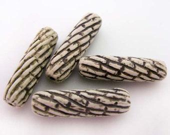 10 High Fired Ceramic Beads - Stripes - HIFI 230