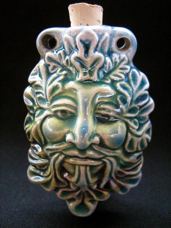 Ceramic Raku Bottle bead - Green Man,  - RAKBOT26 Ceramic, Peruvian, Mythological, Hemp, Essential Oils, God, Spiritual, Pendant, Vessel