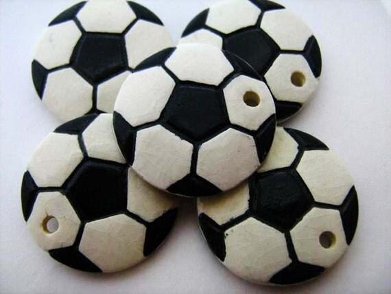 4 Large Soccer Ball Pendants