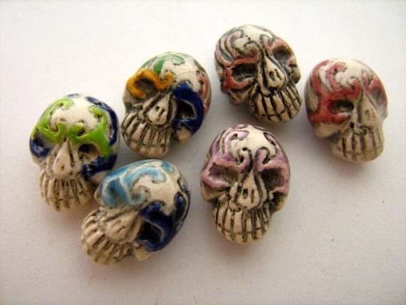 20 Tiny Masked Skull Beads
