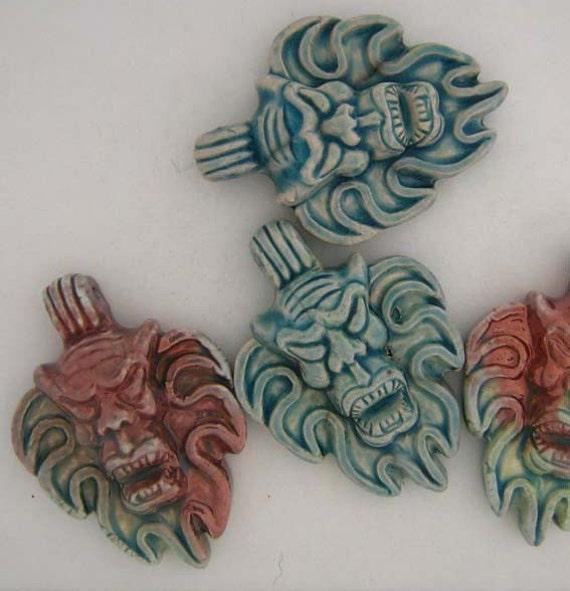 4 Raku Ceramic Beads - Demon Pendants - RAK184