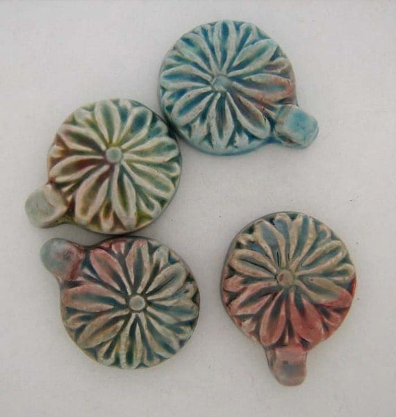 4 Raku Flower Pendants - RK197