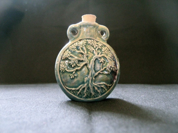 Raku Ceramic Bottle Bead - Tree of Life