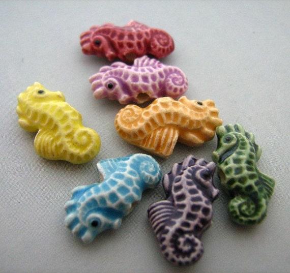 20 Tiny Multi Seahorse Beads