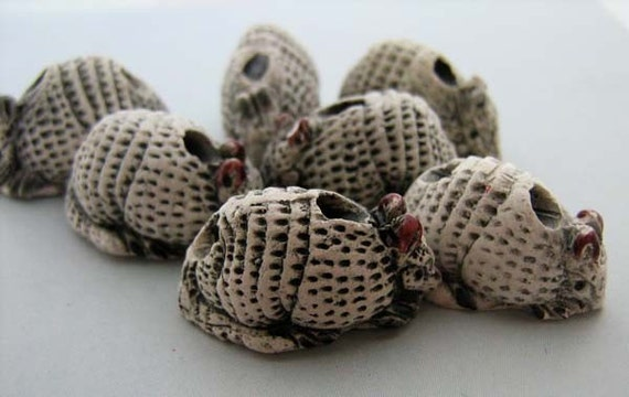 4 Large Armadillo Beads