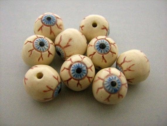 20 Ceramic Beads - Tiny Eyeball Beads - CB786