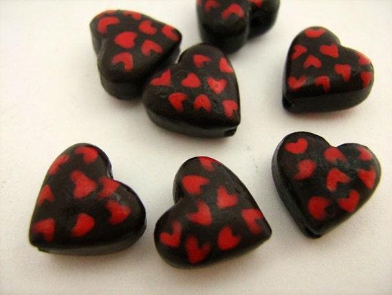 20 Tiny Chocolate Heart Beads - CB808