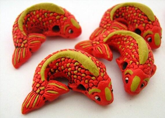 4 large koi beads orange lg236 fish animal chinese for Koi fish beads