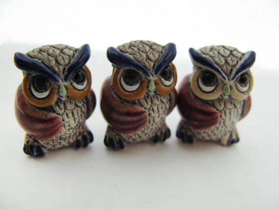 10 Large Owl Beads - red wings - Ceramic Beads - Peruvian Beads - LG457