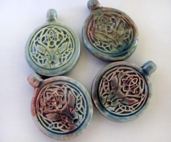 4 Raku Deer Head Pendants - beads