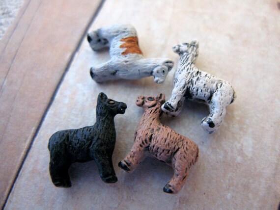 10 Tiny Llama Beads - mixed