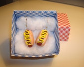 Hot Dog Earrings with Mustard