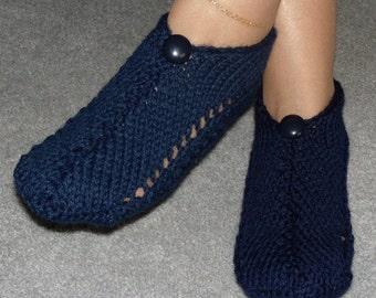 Pair of Midnight Blue Pocket Slippers