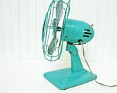 RESERVED for Katie........Vintage Turquoise Aqua Fan