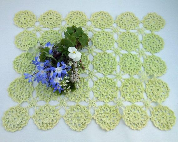 Vintage Hand Crochet Doily - Lime Green - Shabby Chic