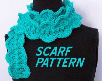 Crocheted pattern - scarf - scallop shells - original pdf pattern - instant download