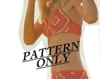 Crochet pattern - bikini - granny squares - digital PDF download