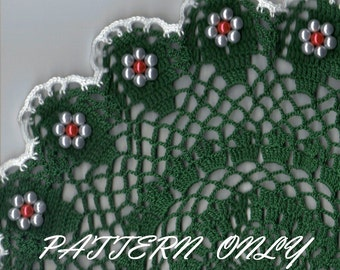 Crochet pattern - original beaded doily - instant download pdf pattern