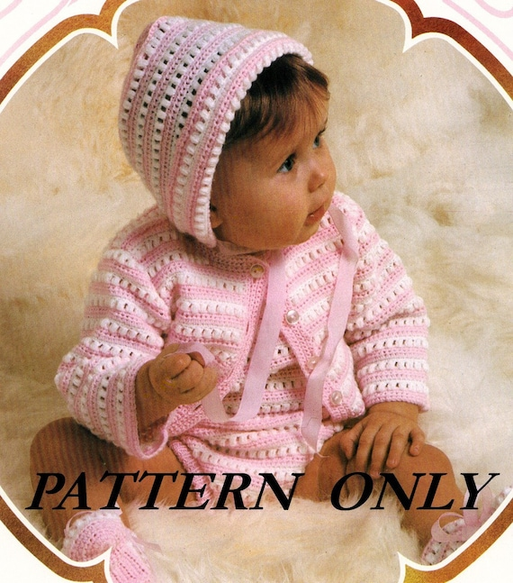 Crochet pattern - baby cardigan, rompers, cap and booties - instant download pdf pattern