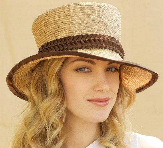 SALE - Stylish Tan Straw Autumn Fall Hat With Brown Trim