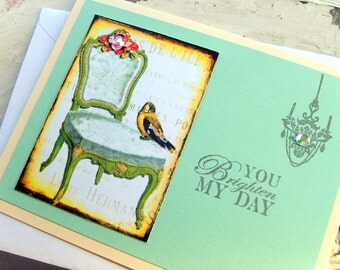 Thinking of You Card, Handmade Greeting, Stationery, Mint Green, Bird Card All Occasion