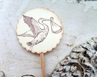 Baby Shower Cupcake Toppers, Stork Baby Party Decor, Cupcake Decorations, Vintage Baby, Set of 12, Food Picks