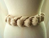 Knot Belt / vintage 1980s Boho Cotton Knot Cinch Belt Wearable Art