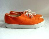 vintage 80s Tangerine Orange canvas weave sneakers shoes 6 1/2 M