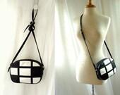 Black White Leather Shoulder Bag / vintage Leather Shoulder Bag / Cross Body Shoulder Bag Purse