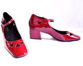 RESERVED red mary janes / vintage red leather  mary jane heels shoes size 6